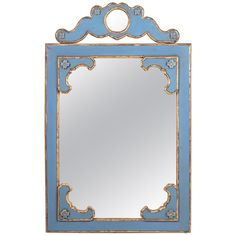For Sale on - French blue wooden decorative mirror. Picture Frame Decor, Classic Eclectic Decor, Upcycle Decor, Decor, Mirror Decor, Mirror Painting, Large Vintage Mirror, Diy Upcycled Decor, French Blue Bedroom