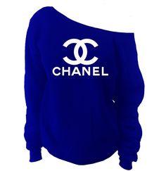 Chanel Off-The-Shoulder Wide Neck Slouchy Sweatshirt - SenseOfCustom