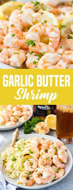 GARLIC BUTTER SHRIMP! Delicious and easy. This delicious shrimp is cooked in a simple garlic butter sauce made with lemon juice and white cooking wine. They are cooked until just pinked through, and topped with fresh parsley and lemon slices. This fresh, flavorful, main dish is delectable, easy, and a great for al fresco dining.