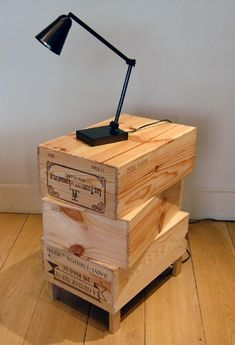 Wood crates as bedroom end tables