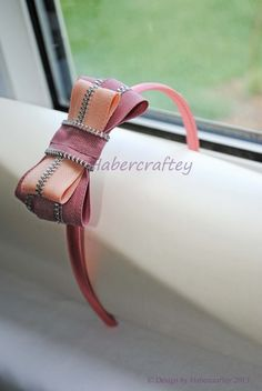 Zipper bow hairband headband - handmade zip craft by habercraftey . £8.50