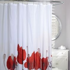 Linen Chest Rideau De Douche En Tissu « Poppy Fields Red Bathroom Decor, Bathroom Interior Design, Bathroom Wall, Bathroom Ideas, Old Mattress, Fabric Shower Curtains, Design Projects, Poppies, Sweet Home