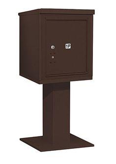 4C Pedestal Mailbox 5 Door High Unit Single Column Stand-Alone 1 Parcel Locker