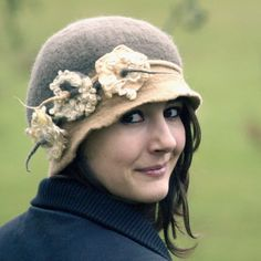1920s Hat Felted Hat cloche taupe hat wool felt flapper by jannio