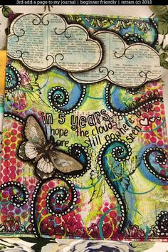 journal with clouds and butterflies... Smash books, altered pages, journals.
