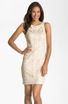 Bride Party Dress Sue Wong Illusion Bodice Lace Sheath Crocheted Flowers And Embroidered Trim Embellish A Fashioned With Sheer