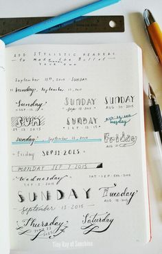 Tiny Ray of Sunshine: Add stylistic headers to your Bullet Journal: