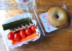 Bella has a field trip today and needed a throw-away lunch. We did have brown paper bags, but no plastic baggies, so I packed everything in a plastic basket the grape tomatoes came in, lined with a coffee filter.