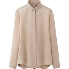 UNIQLO Silk Print Long Sleeve Blouse (485 MXN) ❤ liked on Polyvore featuring tops, blouses, shirts, blusas, beige, long sleeve blouse, uniqlo shirts, long-sleeve shirt, collared shirt and print blouse