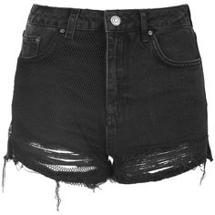 TopShop Moto Mesh Ripped Mom Short ($46) ❤ liked on Polyvore featuring shorts, bottoms, pants, topshop, washed black, high rise jean shorts, distressed jean shorts, high waisted short shorts, destroyed jean shorts and destroyed denim shorts