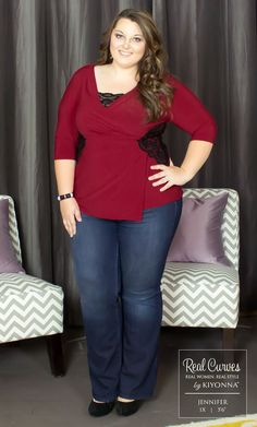 "Real Curve Cutie Jennifer (5'6"") poses it out in our plus size Hourglass Lace Top.  Jeans tone down the look of this outfit, but she keeps it classy with a pair of black heels to bring out the lace accents.  #KiyonnaPlusYou  #PlusSize  #MadeintheUSA  #Kiyonna  #OOTD"