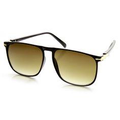 Modern Flat Top Thin Square Frame Plastic Aviator Sunglasses