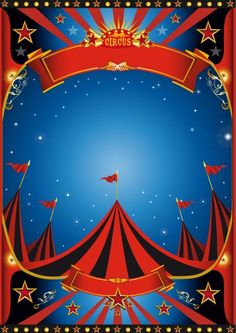 Circus Poster Template | Vintage style circus poster design vector 01