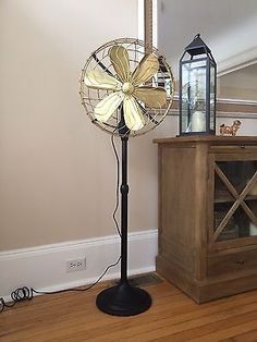 15 Brass Cast Iron Vintage Floor Standing Fan Black 3 Speed Oscillating Old