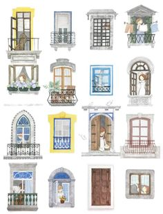 House Sketch, House Drawing, Window Sketch, House Template, Buch Design, House Illustration, Window Design, Book Nooks, Windows And Doors