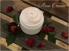 Rose face and body cream: *handful of dried rose petals  *at least 5 ounces of distilled water  *2 1/2 ounces sweet almond oil  *1/2 ounce rosehip seed oil (a bit over a tablespoon)  *1 1/2 ounces mango butter  *1/2 ounce beeswax pastilles  *2 tablespoons stearic acid (palm-derived emulsifying agent)  *rosemary antioxidants (a natural preservative)  *rose essential oil *alkanet root powder (for pink coloring)