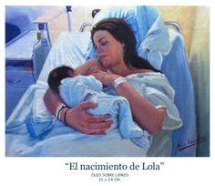 """""""El nacimiento de Lola"""" Óleo sobre tela 35x24cm"""