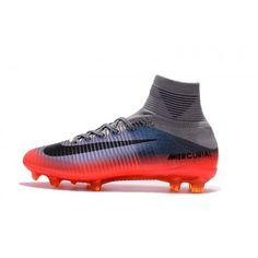 hot sale online e5e15 4684b Billig 2017 Nike Mercurial Superfly V CR7 Gra Rod Herre Fotballsko Cheap  Soccer Shoes, Soccer