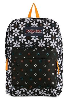 Superbreak Backpack by Jansport with flowery print. Made of 600 polyester material. Two main compartments. One main compartment, front pocket, top carry handle, front pocket, zipper closure, adjustable strap, perfect for a short holiday backpack or for school backpack.  http://www.zocko.com/z/JFRRz