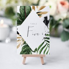Tropical table Number Template Printable Wedding Table Number palm leaf banana leaf Table Numbers Ed Number Template Printable, Sign Templates, Table Template, Wedding Cards, Diy Wedding, Rustic Wedding, Green Wedding, Wedding Favors, Wedding Stationary
