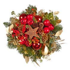 """Pflanzen-Kölle Weihnachtsstrauß """"Sternenglanz"""" inkl. Lichterkette.  Strahlende Geschenkidee für viele Anlässe in der Winter- und Weihnachtszeit. Glanzvoller Lichterstrauß mit einzigartigem Sternenzauber."""