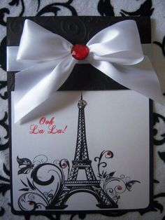 Ooh La La! Loving this cute Paris theme trifold invitation