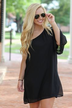 Every girl needs a one shoulder little black dress!