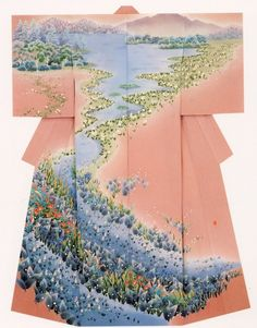 加賀友禅 Kaga-Yuzen. -- Japan, Japanese clothing, kimono, traditional, pink, nature, girl, women, river