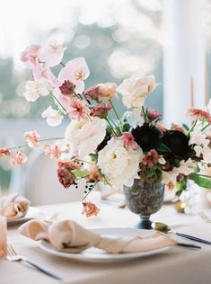 Wedding Flowers A strikingly beautiful combination of floral colors. Photo Carlos Hernandez - Stunning Wedding Inspiration From Charleston - Wedding Table Centerpieces, Floral Centerpieces, Floral Arrangements, Wedding Decorations, Centerpiece Ideas, Centrepieces, Wedding Arrangements, Floral Wedding, Wedding Bouquets