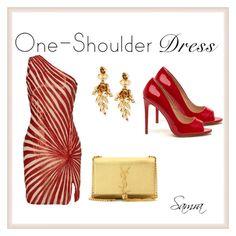 """One-Shoulder Dress #3"" by samra-dzabija ❤ liked on Polyvore featuring Naeem Khan, Yves Saint Laurent, Oscar de la Renta and dress"
