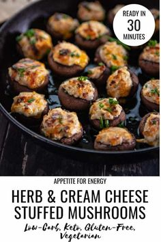 Super delicious, cheesey stuffed mushrooms are the ideal one-bite appetizer to w. Super delicious, cheesey stuffed mushrooms are the ideal one-bite appetizer to wow guests at partie One Bite Appetizers, Low Carb Appetizers, Appetizer Recipes, Vegetarian Appetizers, Wedding Appetizers, Dinner Recipes, Appetizers Kids, Gluten Free Appetizers, Holiday Appetizers