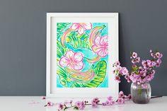 Instant Download Preppy watercolor floral art print preppy