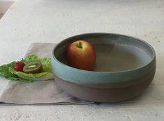Large salad bowl, Ceramic bowl, Fruit bowl, Serving bowl, Green bowl, Large fruit bowl, Pottery bowl, Cooking tray, Cake dish, Ready to ship by IngridDebardCeramics on Etsy