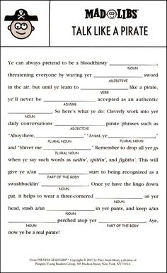 Pirates Mad Libs | Additional Photo (Inside Page)