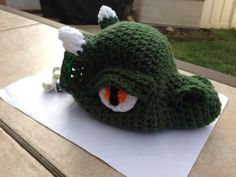 Hand-Crochet-Dungeon-And-Dragon-D-D-Dice-Bag-Pouch-Green-Dragon-Head