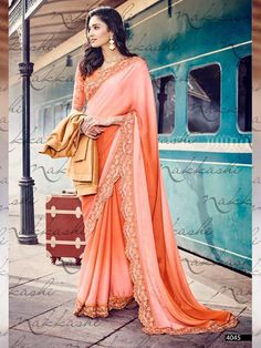 Peach+Color+Embroider+Designer+Party+Wear+Saree