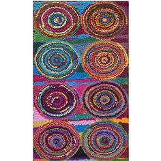 "Safavieh Nantucket Collection NAN143A Handmade Pink and Multicolored Cotton Area Rug, 2 feet 3 inches by 4 feet (2'3"" x 4')"
