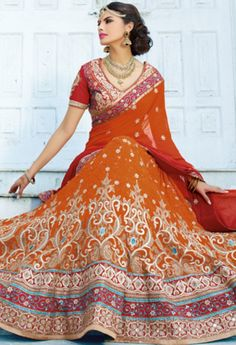 Orange Georgette Designer Lehenga 1115