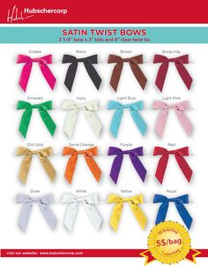 Easy to use and affordable satin bows for your Bonboniere. Visit our website hubschercorp.com or call us 1.800.567.6610 to order today
