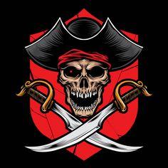 Skull Pirate With Sword Vector Cool Pokemon Wallpapers, Cute Wallpapers, Logo Esport, Gaming Logo, Pirate Art, Pirate Skull, Pirate Tattoo, Oakland Raiders Football, Samurai Artwork