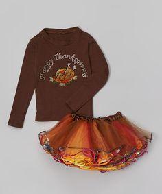 Love this Brown 'Thanksgiving' Turkey Tee & Pettiskirt - Toddler & Girls on #zulily! #zulilyfinds