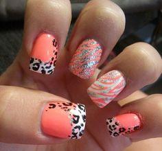 Peach zebra glitter
