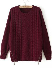 Red Long Sleeve Zipper Cable Knit Sweater