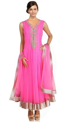 Magenta Pink Net Ankle Length Anarkali Suit