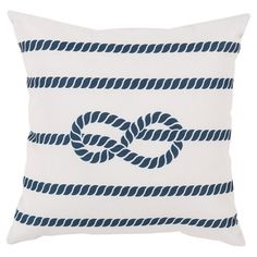 Showcasing a cobalt rope motif laid over an ivory backdrop, this eye-catching #pillow lends #nautical appeal to your living room or den.