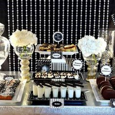 1940's Gangster Anniversary Party {Adult Party Ideas}This amazing gangster themed party was inspired from the movie 'The Godfather'.  Naturally, all of the decor would be in black and white with touches of vintage items as well as mug shots and guns.  There were many offers you couldn't refuse at the delectable Italian themed dessert table.  All of the desserts had respective name tags such as Bonasera, Bonasera or Leave the Gun...Take the Cannoli.View This Tutorial