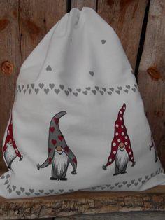 Scandinavian Christmas Gift bag Drawstring Cotton by Vivicreative, $12.00
