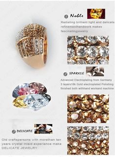 Trendy New Jewellery Ring 18K Gold Plated Women Rings Made With Genuine  Element Austrian Crystal Wholesale 22*18mm Ri-HQ0020