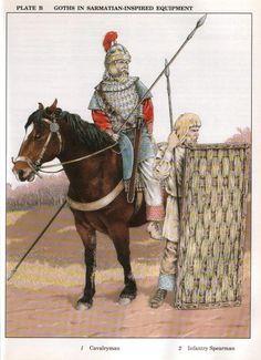 Gothic mercenaries with Sarmatian-inspired equipment in Romano/Byzantine service, VI cent. AD.