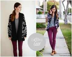 Love the wine colored jeans! (Jut bought some) Need items to go with them.  This sweater is great after she altered it.
